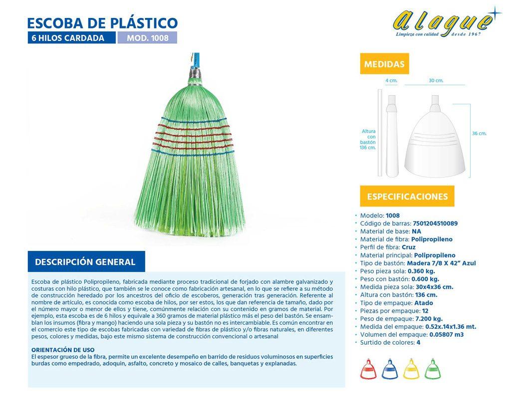 Escoba Plástico 6 Hilos Cardada