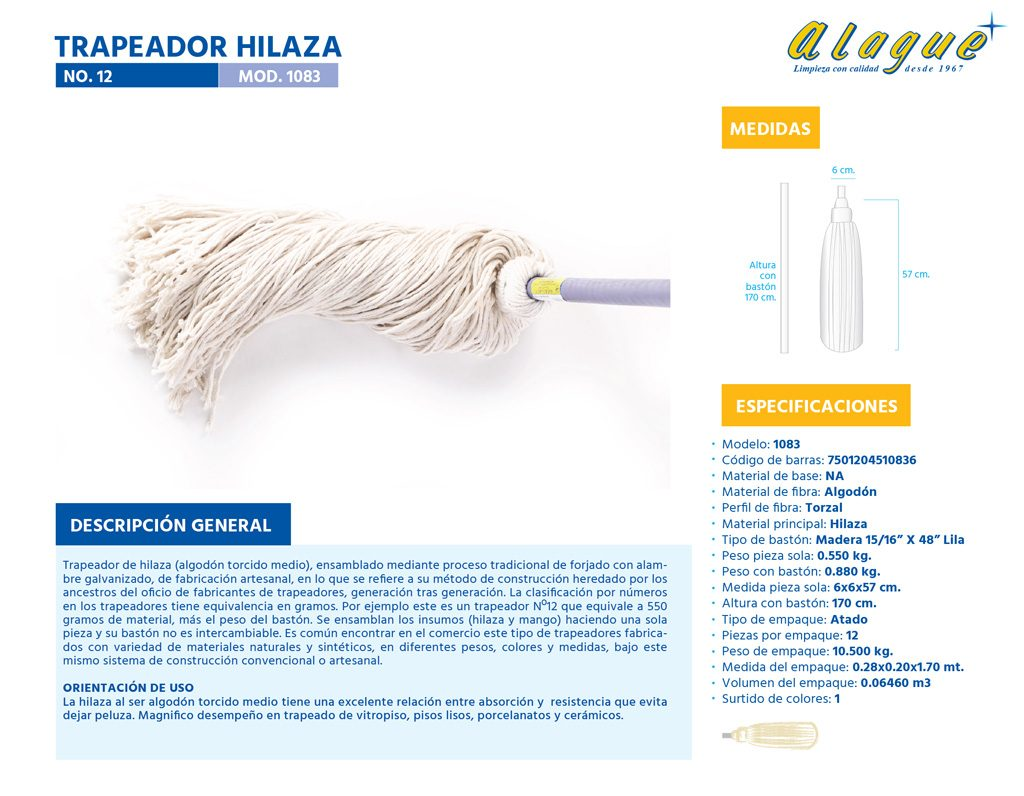 Trapeador Hilaza No. 12