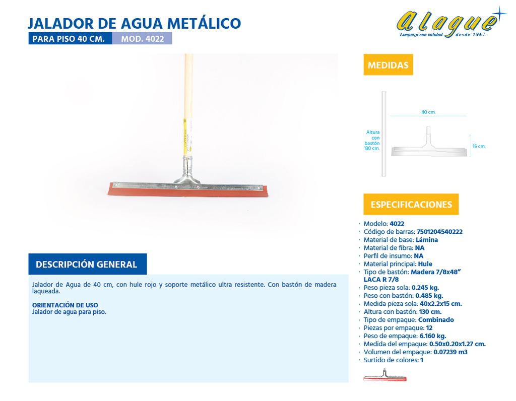 Jalador de Agua Metálico para Piso 40 Cms.
