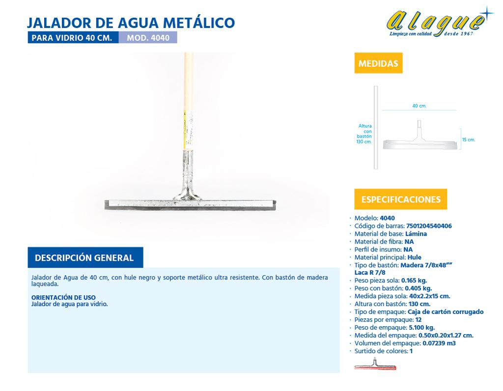 Jalador de Agua Metálico para Vidrio 40 Cms.