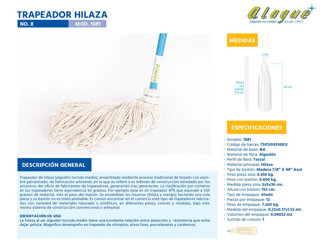 Trapeador Hilaza No. 8