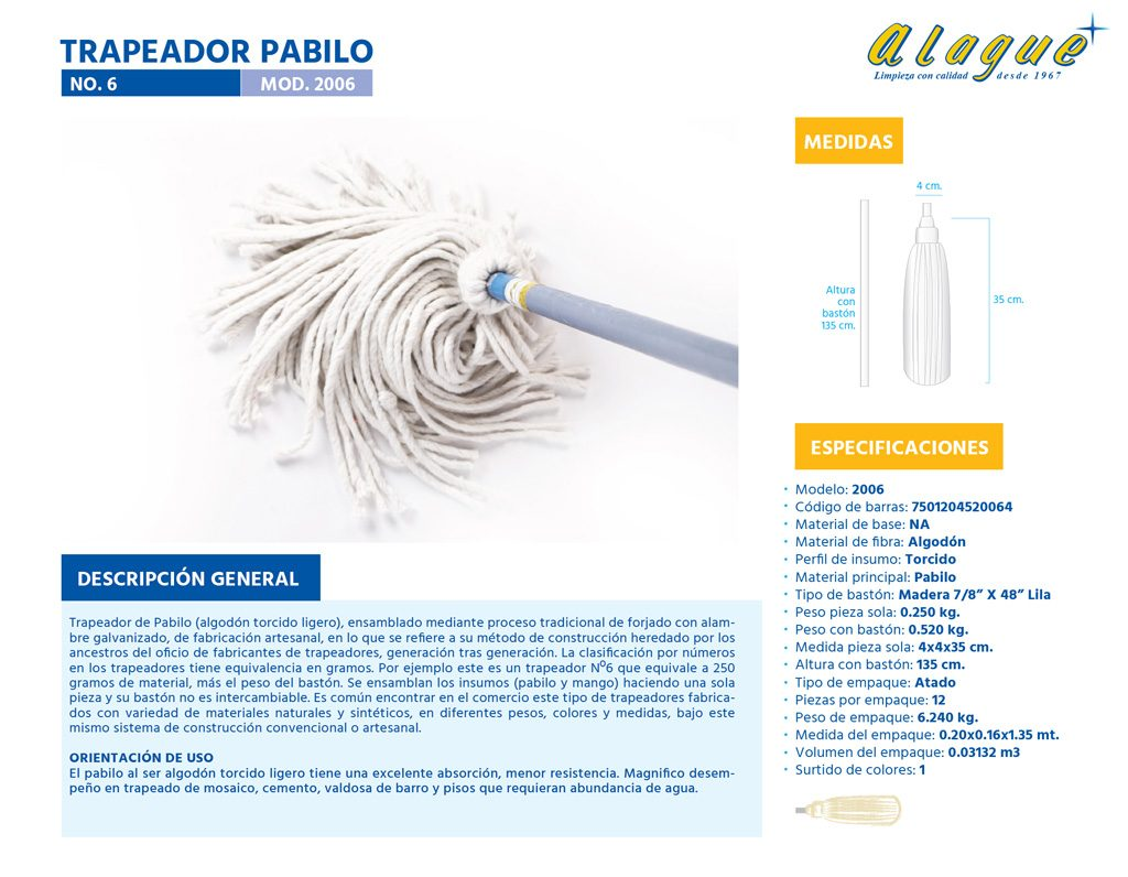 Trapeador Pabilo No. 6