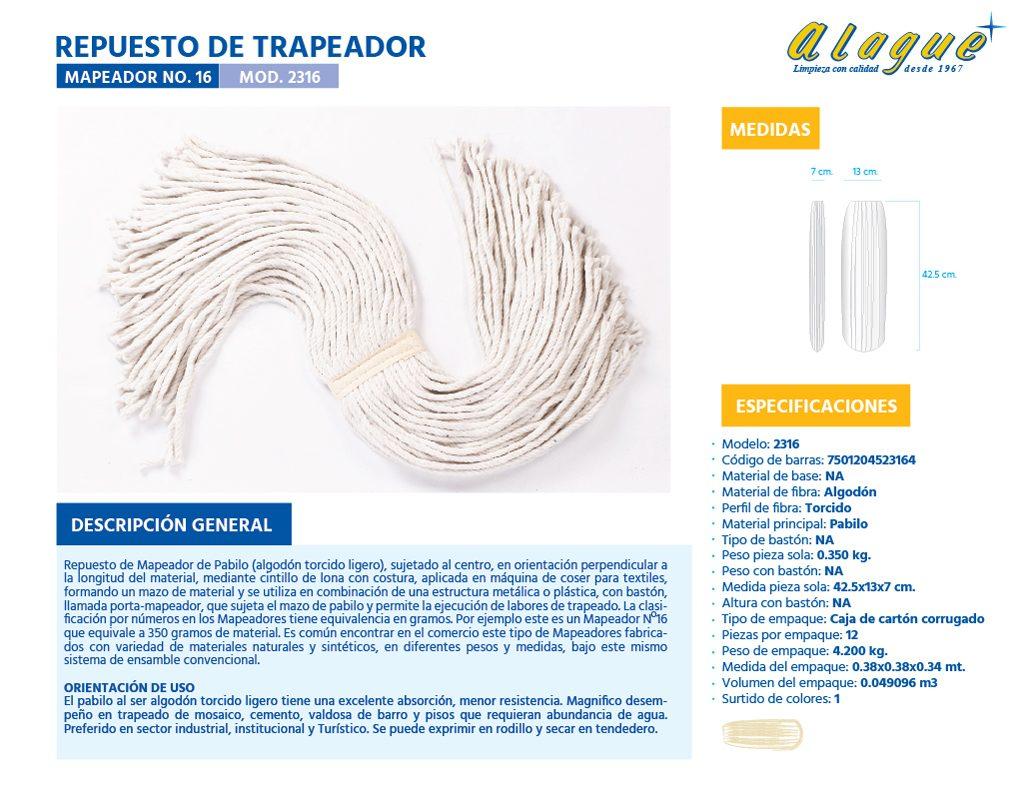 Rep de Trapeador (Mapeador) No. 16