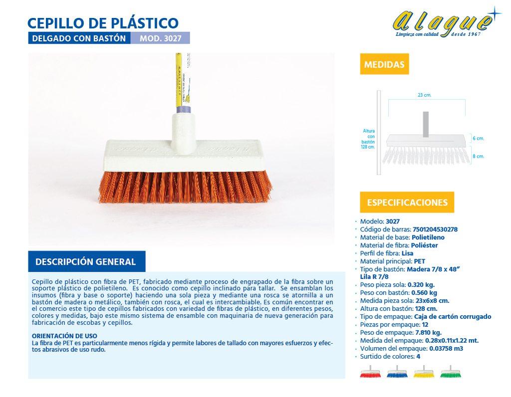 Cepillo Plástico Delgado con Bastón