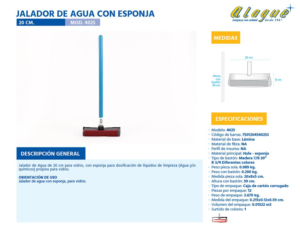 Jalador de Agua con Esponja 20 Cms.